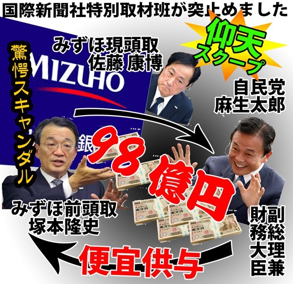 Photo of みずほ&自民党最大のスキャンダル!!闇献金98億迂回融資で麻生が便宜供与